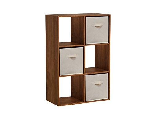 Homestar 6-Cube with Fabric Bins - Wheat Alder