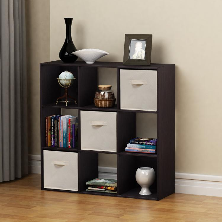 Homestar 9-Cube with Fabric Bins - Black Brown