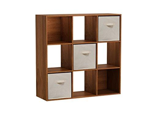 Homestar 9-Cube with Fabric Bins - Wheat Alder