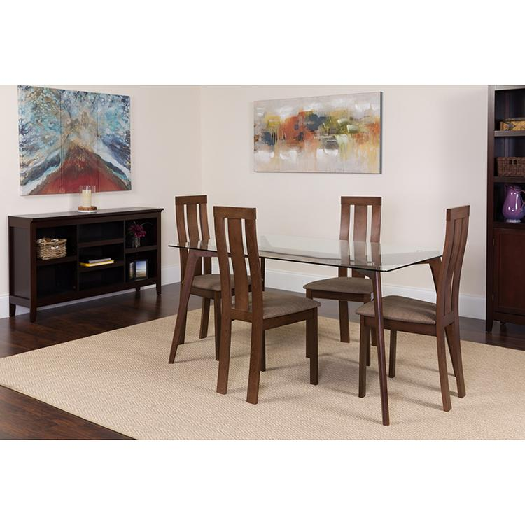 Flash Furniture Escalon 5 Piece Espresso Wood Dining Table Set with Glass Top and Vertical Wide Slat Back Wood Dining Chairs - Padded Seats