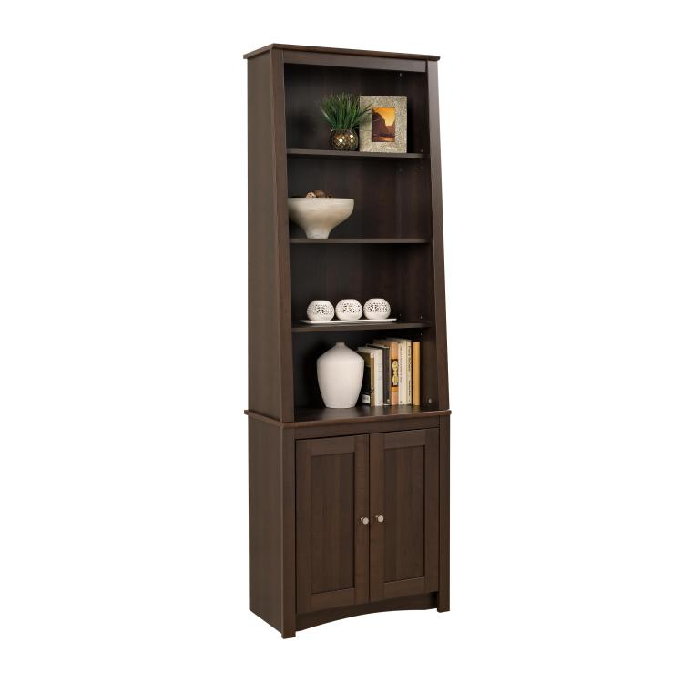 Tall Slant-Back Bookcase With 2 Shaker Doors