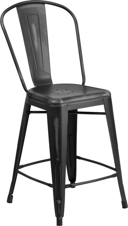 High Distressed Metal Indoor-Outdoor Counter Height Stool With Back