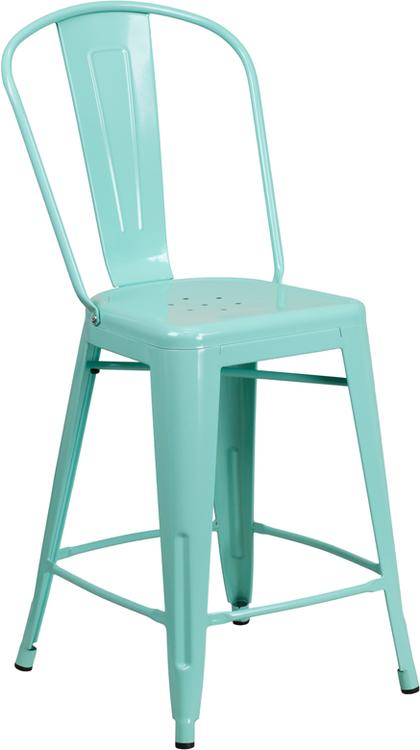 High Metal Indoor-Outdoor Counter Height Stool With Back