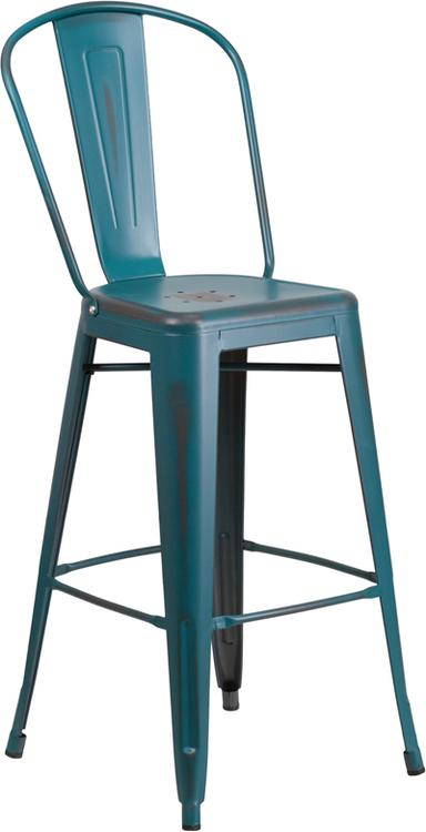 High Distressed Metal Indoor-Outdoor Barstool With Back