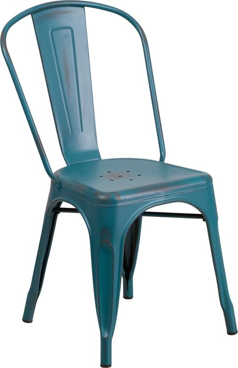 Distressed Metal Indoor-Outdoor Stackable Chair