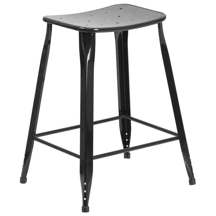 High Metal Indoor-Outdoor Counter Height Stool