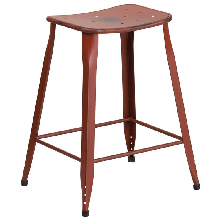 Flash Furniture High Distressed Kelly Metal Indoor-Outdoor Counter Height Stool