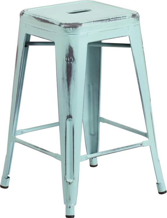 High Backless Distressed Metal Indoor-Outdoor Counter Height Stool