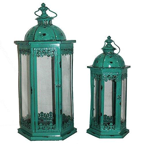 Mesmerizing 2 Piece Metal Lantern Set