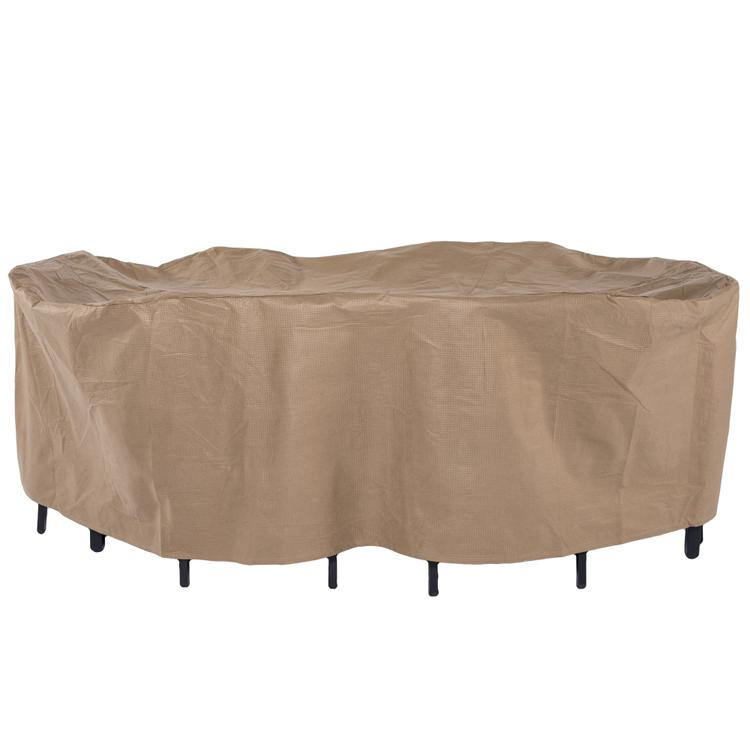 Duck Covers Essential 127 in. L Rectangular/Oval Patio Table & Chair Set Cover