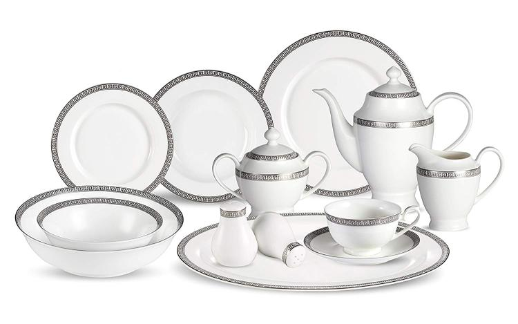 Lorren Home Trends 57 Piece Dinnerware Set-Bone China Service for 8-Evelyn