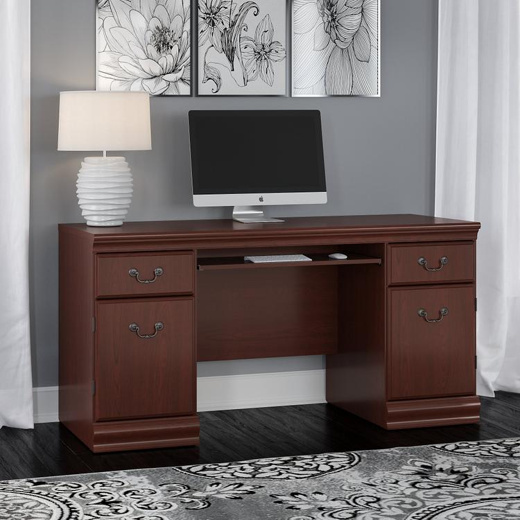 Bush Furniture Birmingham Credenza Desk with Keyboard Tray and Storage