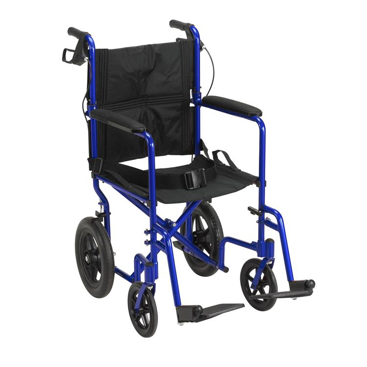 Drive Medical Lightweight Expedition Transport Wheelchair with Hand Brakes [Item # EXP19LTBL]