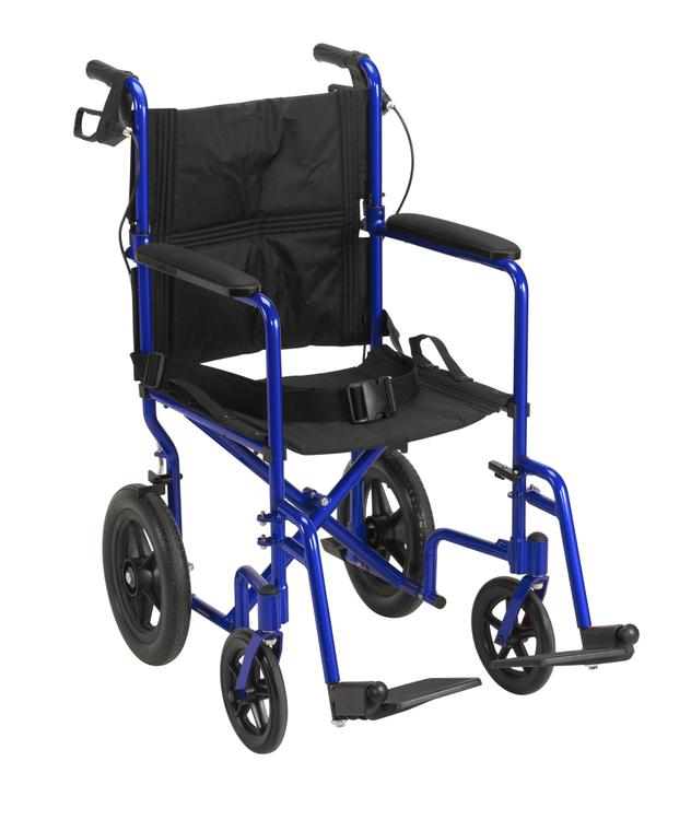 Lightweight Expedition Transport Wheelchair with Hand Brakes [Item # EXP19LTBL]