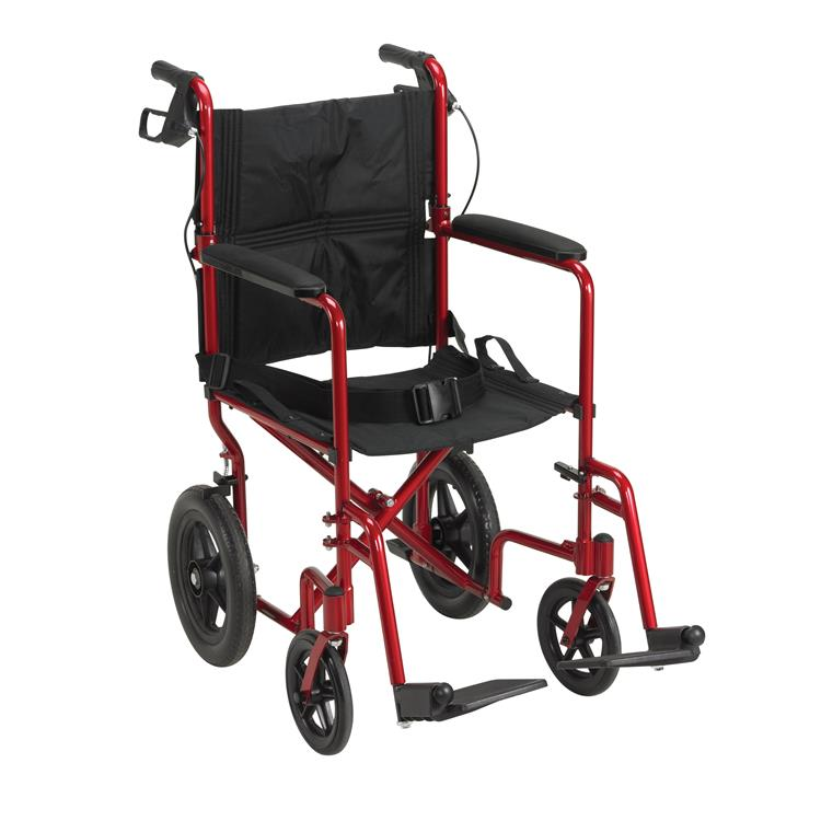Drive Medical Lightweight Expedition Transport Wheelchair with Hand Brakes [Item # EXP19LTRD]