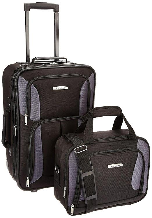 Rockland Rio Expandable 2-Pc Carry On Luggage Set [Item # F102-BLACK/GRAY]