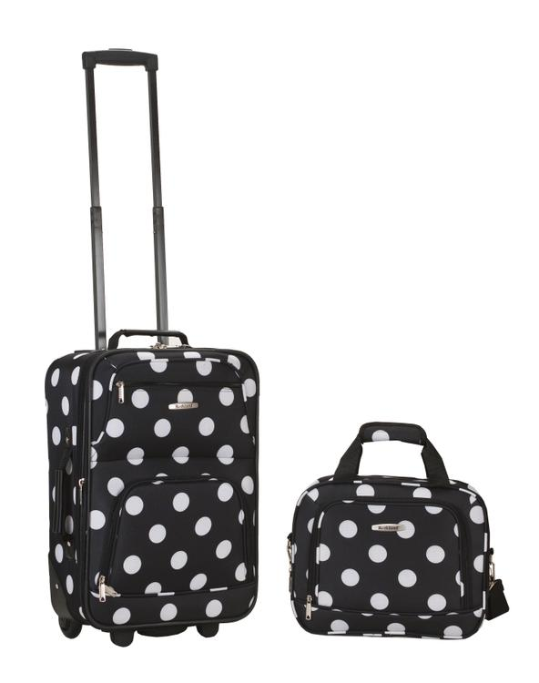 Rockland Rio Expandable 2-Pc Carry On Luggage Set [Item # F102-BLACKDOT]