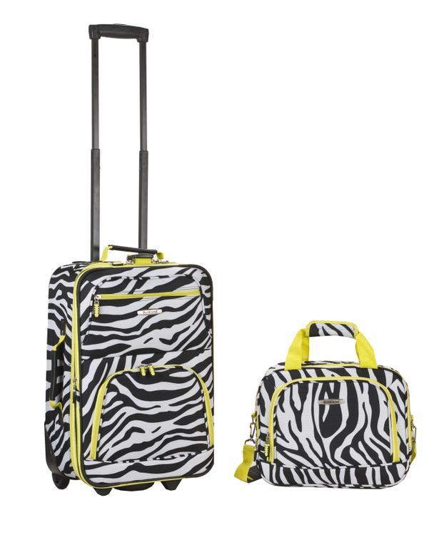 Rockland Rio Expandable 2-Pc Carry On Luggage Set [Item # F102-LIMEZEBRA]