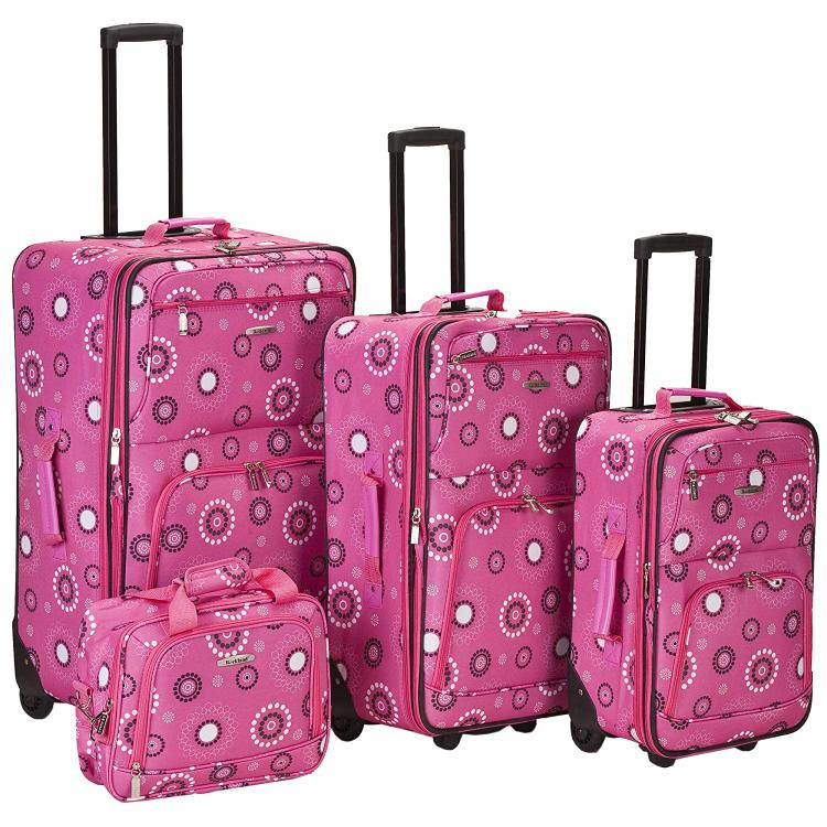 Rockland 4 Piece Pearl Luggage Set [Item # F108-PINKPEARL]