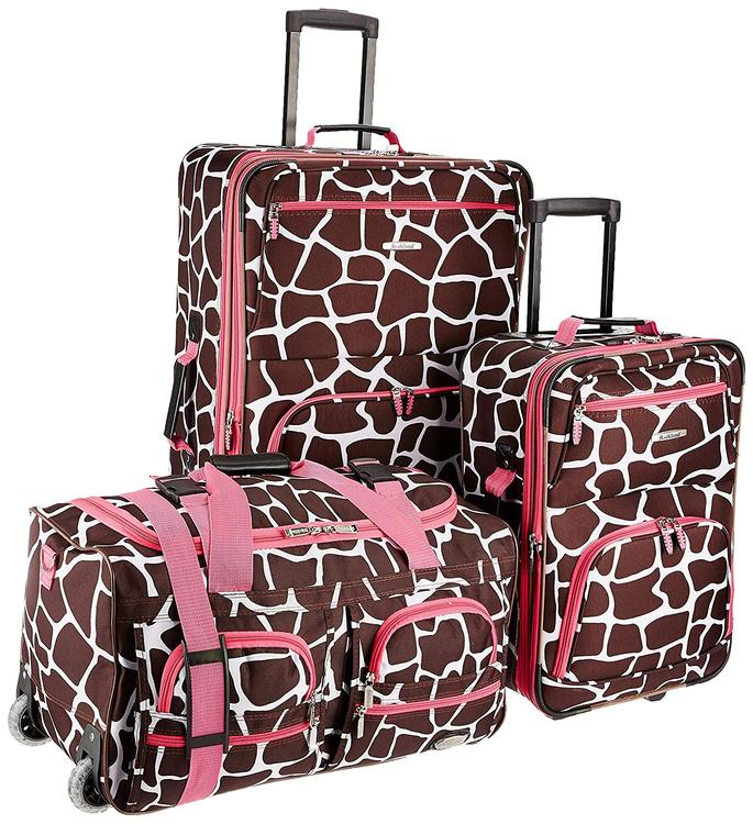 Rockland Expandable Spectra 3-Piece Luggage Set [Item # F165-PINKGIRAFFE]