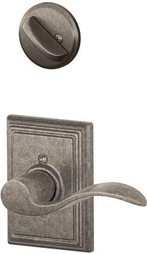 Schlage F59 Accent With Addison Rose Left Hand Interior Active Trim with 12326 Latch and 10027 Strike Distressed Nickel Finish [Item # F59ACC621ADDLH]