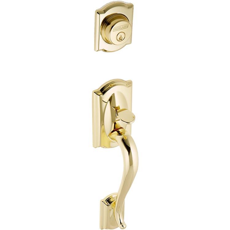Schlage F92 Camelot Dummy Exterior Handleset Bright Brass Finish [Item # F92CAM605]