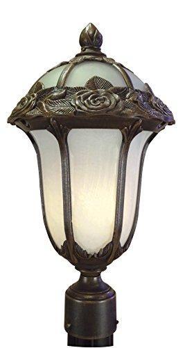 Rose Garden Post Mount Light with Alabaster Glass