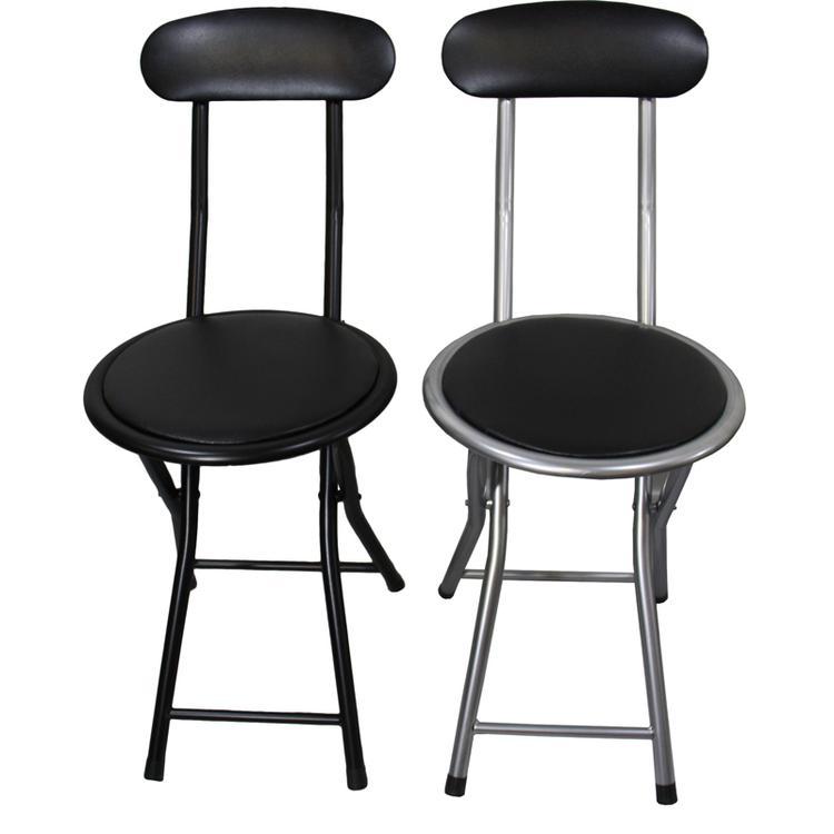 ORE International Black/Silver Folding 2-Pc. Chair Set