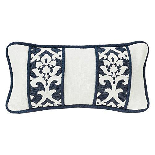 White Linen Oblong Deco Pillow with Jacquard Panels and piping detail 21
