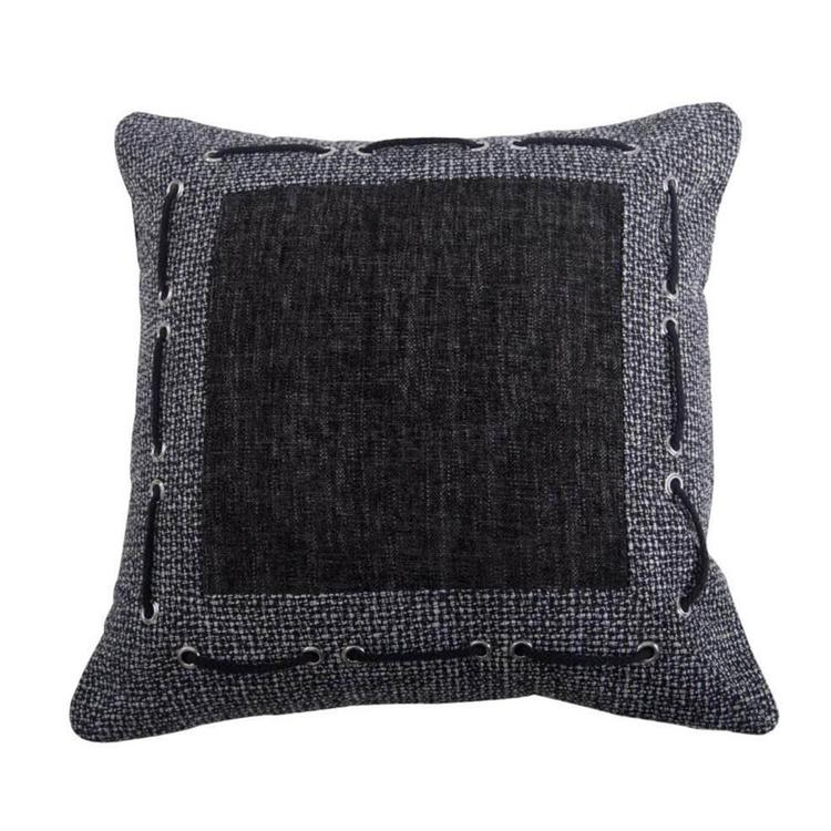 HiEnd Accents Tweed and Chenille Pillow with framing & laced rope detail , 18x18
