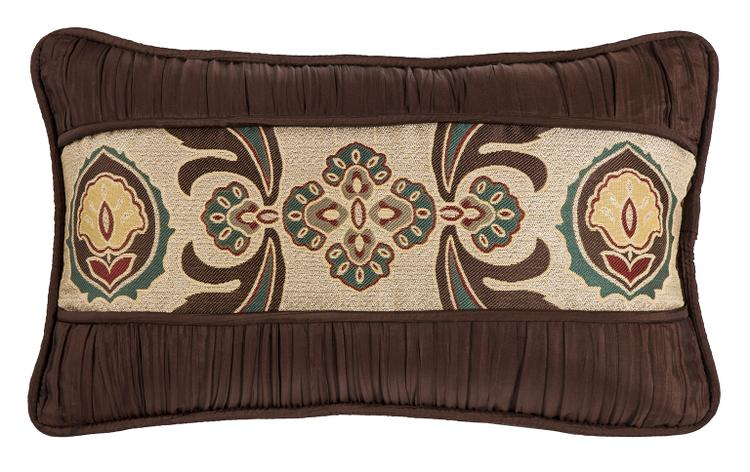 HiEnd Accents Loretta Pillow with Batiste rouching detail, 12x19