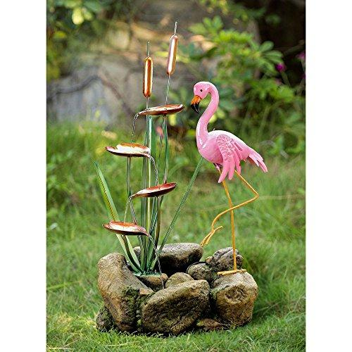 Flamingo and Rock Water Fountain