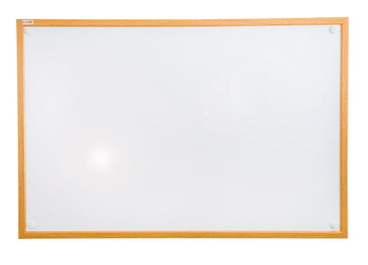 Viztex | Lacquered Steel Magnetic Dry Erase Board | Oak Effect Surround | Size 48
