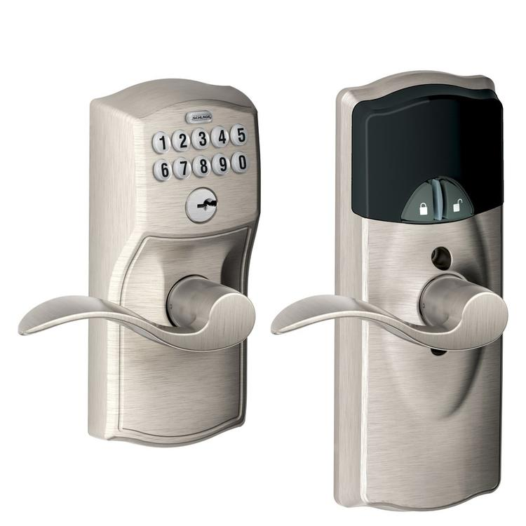Schlage FE599NX Camelot By Accent Keypad Entry With Z-Wave with 16086 Latch 10027 Strike Satin Nickel Finish