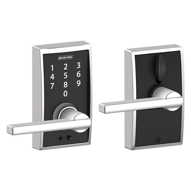Schlage FE695 Century By Latitude Keyless Touch Lever Lock with 16211 Latch 10063 Strike Bright Chrome Finish