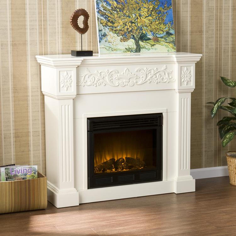 Southern Enterprises Calvert Carved Ivory Gel Fireplace