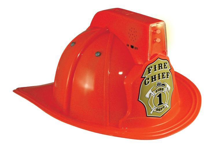 Jr. Fire Fighter, HELMET ONLY, RED Adj Youth Size, w/siren & light