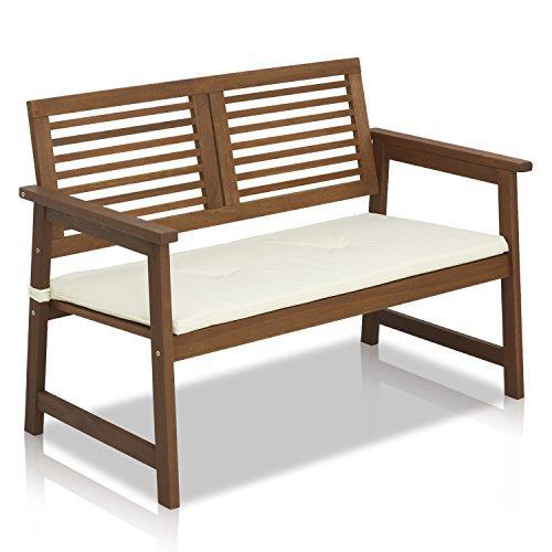 Furinno Tioman Teak Hardwood Outdoor Bench with Cushion, FG161167