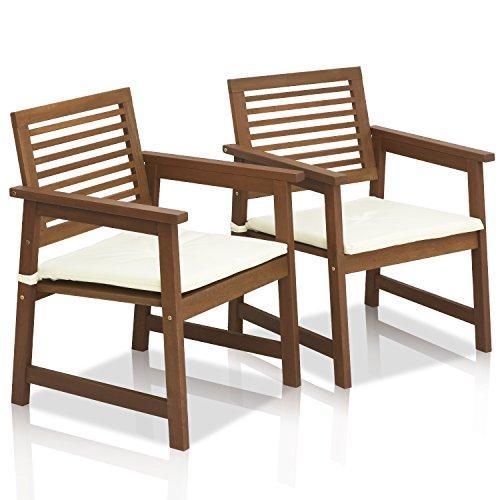 Furinno Tioman Teak Hardwood Outdoor Armchair with Cushion, Set of Two, FG161249