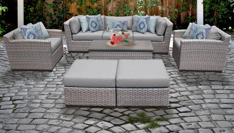 Florence 8 Piece Outdoor Wicker Patio Furniture Set 08c