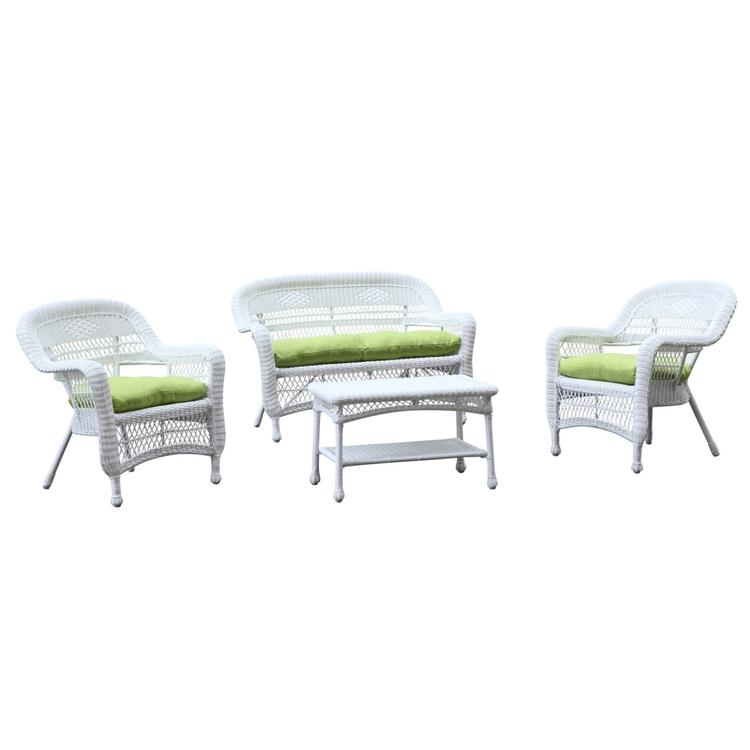 Fine Mod Imports Portside White 4 Piece Outdoor Set Cushion