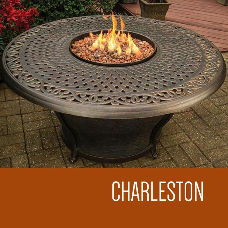 Charleston - 48 Inch Round Cast Top Gas Fire Pit Table