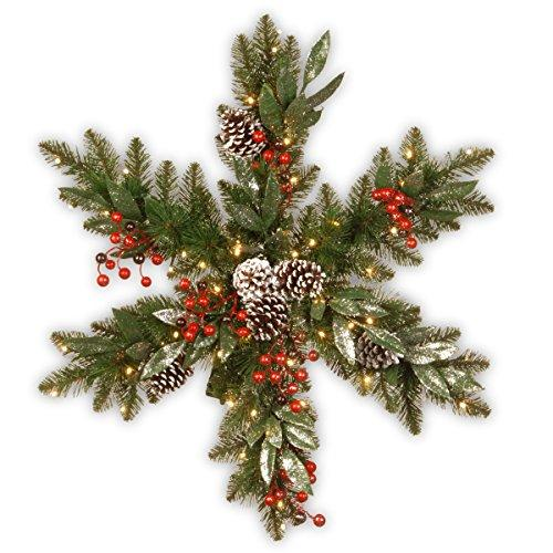 National Tree Frosted Pine Berry Snowflake with Battery Operated LED Lights