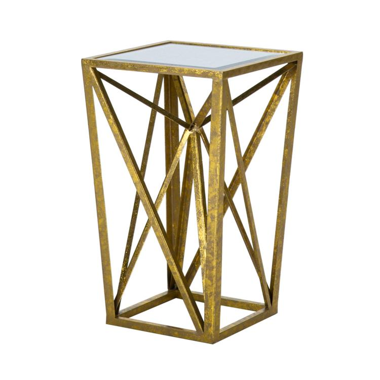 Gold Angular Mirror Accent Table