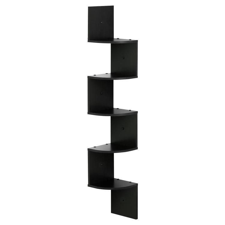 Furinno 5 Tier Wall Mount Floating Radial Corner Shelf, Espresso