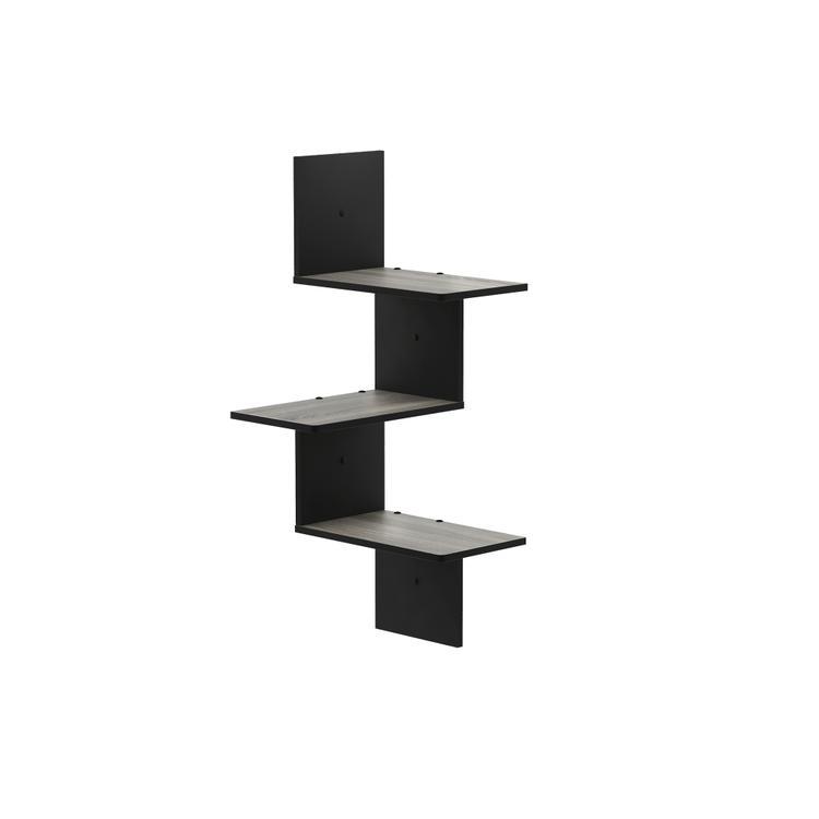 Furinno Rossi Modern 3-Tier Wall Floating Corner Shelf, French Oak Grey/Black