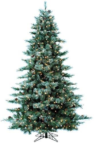 9.0-Ft. Glistening Pine Tree with Pine Cones, Multi-Color LED Lights and EZ Connect