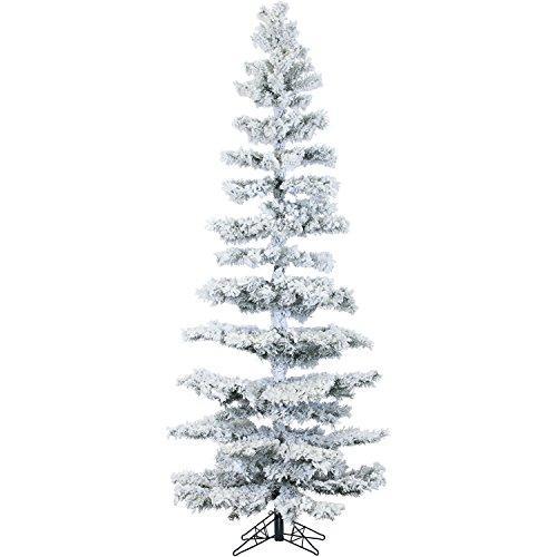 Fraser Hill FFHS075S-5SN 7.5 Ft. Hillside Slim Flocked Pine with Clear LED String Lighting
