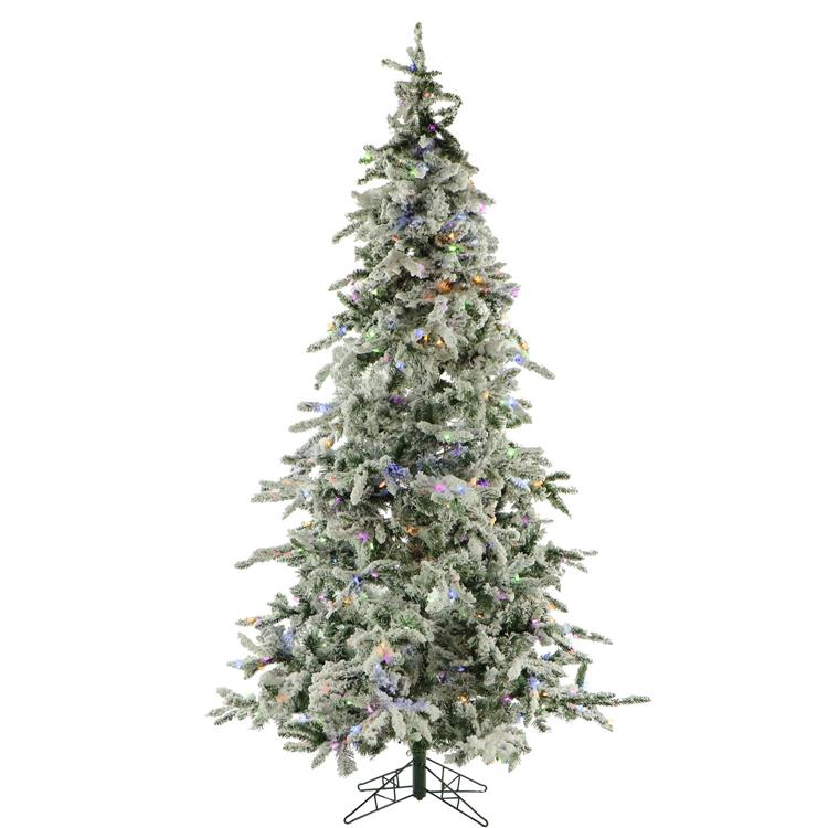 Fraser Hill 7.5 Ft. Flocked Mountain Pine with Multi-Color LED String Lighting