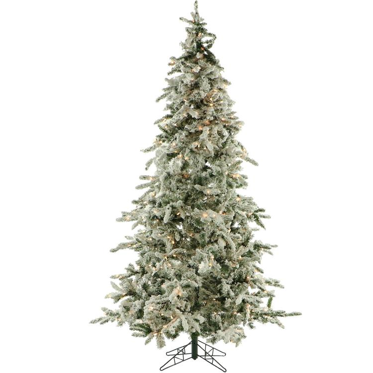 Flocked Mountain Pine Christmas Tree with Clear LED String Lighting